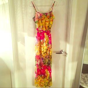 Jessica Simpson Floral Chiffon Slit Maxi Dress